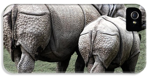 Rhinoceros Mother And Calf In Wild IPhone 5 Case by Daniel Hagerman