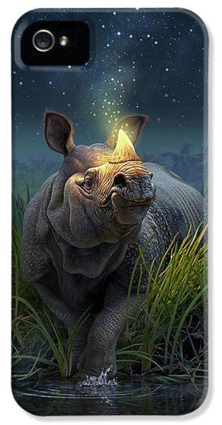 Rhinoceros Unicornis IPhone 5 Case by Jerry LoFaro