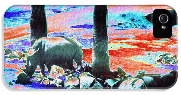 Rhinos Having A Picnic IPhone 5 Case by Abstract Angel Artist Stephen K