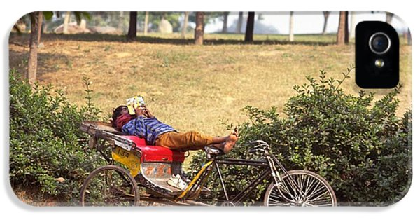 Rickshaw Rider Relaxing IPhone 5 Case by Travel Pics