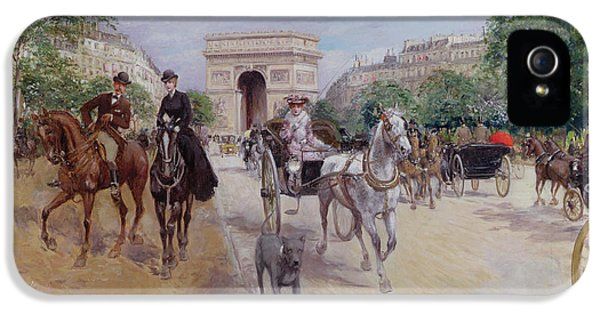 Riders And Carriages On The Avenue Du Bois IPhone 5 Case by Georges Stein