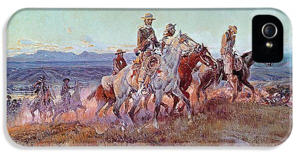 Riders Of The Open Range IPhone 5 Case by Charles Marion Russell