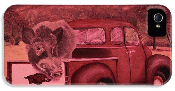 University Of Arkansas iPhone 5 Case - Ridin' With Razorbacks 3 by Belinda Nagy