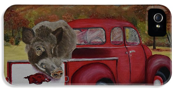 University Of Arkansas iPhone 5 Case - Ridin' With Razorbacks by Belinda Nagy
