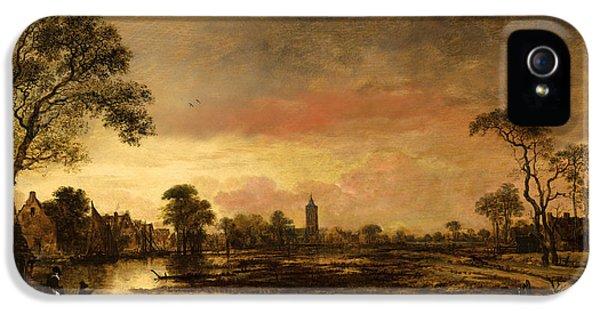 River iPhone 5 Cases - River landscape  iPhone 5 Case by Aert van der Neer
