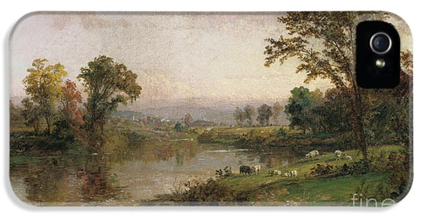 Meadow iPhone 5 Cases - Riverscape in Early Autumn iPhone 5 Case by Jasper Francis Cropsey