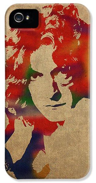 Robert Plant Led Zeppelin Watercolor Portrait IPhone 5 Case