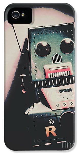 Robotic Mech Under Vintage Spotlight IPhone 5 Case by Jorgo Photography - Wall Art Gallery