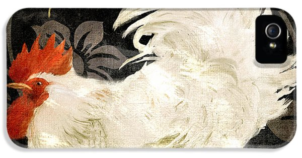 Rooster iPhone 5 Case - Rooster Damask Dark by Mindy Sommers
