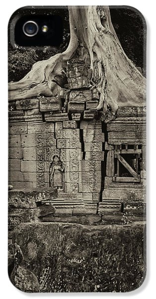 IPhone 5 Case featuring the photograph Roots In Ruins 5, Ta Prohm, 2014 by Hitendra SINKAR