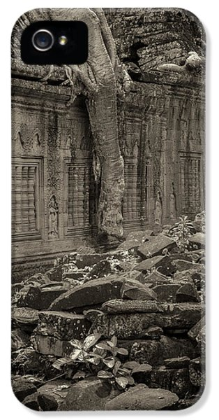 IPhone 5 Case featuring the photograph Roots In Ruins 6, Ta Prohm, 2014 by Hitendra SINKAR