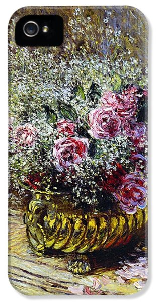 Roses In A Copper Vase IPhone 5 Case by Claude Monet