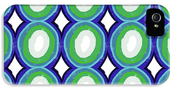 Round And Round Blue And Green- Art By Linda Woods IPhone 5 / 5s Case by Linda Woods