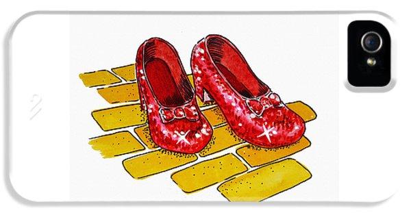 Wizard iPhone 5 Case - Ruby Slippers The Wizard Of Oz  by Irina Sztukowski
