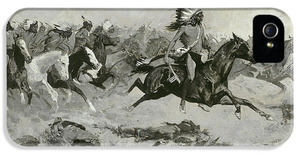 Rushing Red Lodges Passed Through The Line IPhone 5 Case by Frederic Remington