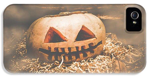 Rustic Barn Pumpkin Head In Horror Fog IPhone 5 Case by Jorgo Photography - Wall Art Gallery