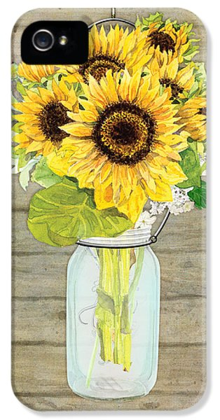 Sunflower iPhone 5 Case - Rustic Country Sunflowers In Mason Jar by Audrey Jeanne Roberts