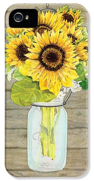 Rustic Country Sunflowers In Mason Jar IPhone 5 Case by Audrey Jeanne Roberts