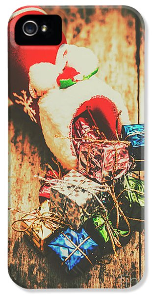Rustic Red Xmas Stocking IPhone 5 Case by Jorgo Photography - Wall Art Gallery