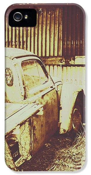 Damage iPhone 5 Case - Rusty Pickup Garage by Jorgo Photography - Wall Art Gallery