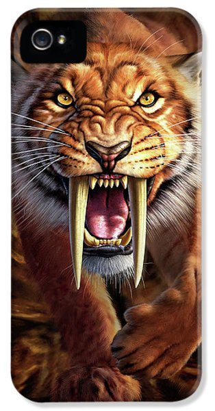 Lion iPhone 5 Case - Sabertooth by Jerry LoFaro