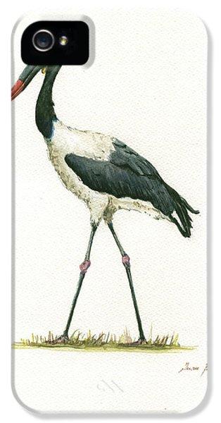 Crane iPhone 5 Case - Saddle Billed Stork by Juan Bosco