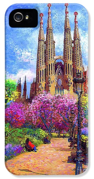 Sagrada Familia And Park,barcelona IPhone 5 Case by Jane Small