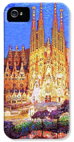 Sagrada Familia At Night IPhone 5 Case by Jane Small