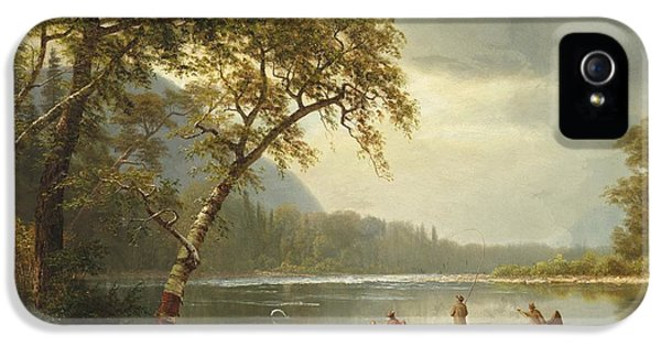 Salmon Fishing On The Caspapediac River IPhone 5 / 5s Case by Albert Bierstadt