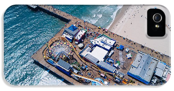 Santa Monica iPhone 5 Case - Santa Monica Pier From Above Side by Andrew Mason
