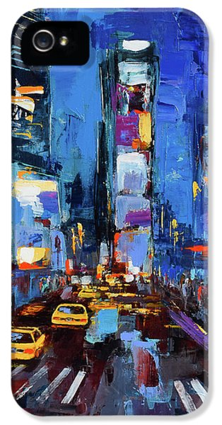Saturday Night In Times Square IPhone 5 Case by Elise Palmigiani