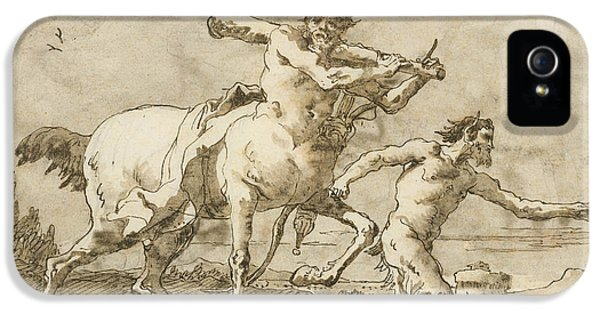 Centaur iPhone 5 Case - Satyr Leading A Centaur, Who Carries A Club, Bow And Quiver, Outside The Walls Of A City by Giovanni Domenico Tiepolo