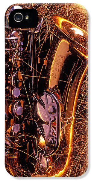 Saxophone iPhone 5 Case - Sax With Sparks by Garry Gay