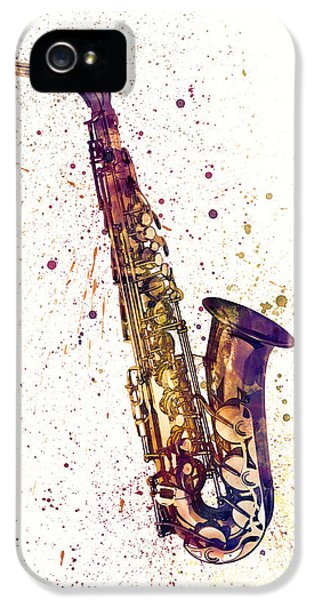 Saxophone iPhone 5 Case - Saxophone Abstract Watercolor by Michael Tompsett
