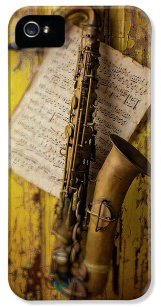 Saxophone Hanging On Old Wall IPhone 5 Case