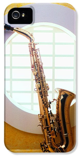 Saxophone iPhone 5 Case - Saxophone In Round Window by Garry Gay