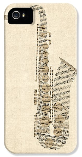 Saxophone iPhone 5 Case - Saxophone Old Sheet Music by Michael Tompsett