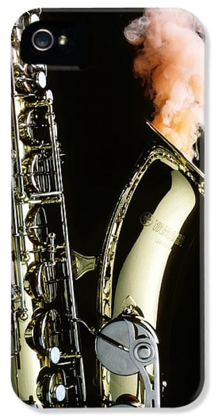 Saxophone iPhone 5 Case - Saxophone With Smoke by Garry Gay