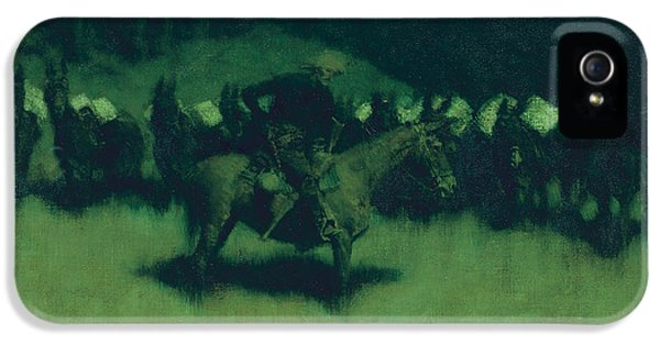 Scare In A Pack Train IPhone 5 Case by Frederic Remington