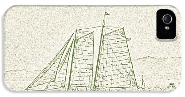 Schooner On New York Harbor No. 3-2 IPhone 5 Case by Sandy Taylor