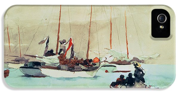 Boats iPhone 5 Cases - Schooners at Anchor in Key West iPhone 5 Case by Winslow Homer