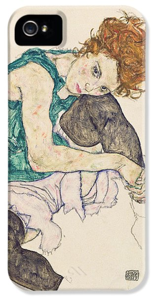 Seated Woman With Bent Knee IPhone 5 / 5s Case by Egon Schiele