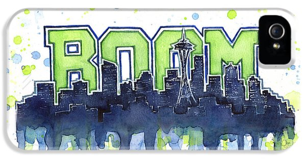 Seattle 12th Man Legion Of Boom Watercolor IPhone 5 Case by Olga Shvartsur