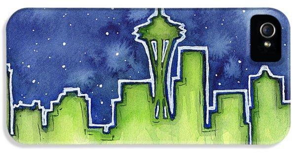 Seattle Skyline iPhone 5 Case - Seattle Night Sky Watercolor by Olga Shvartsur