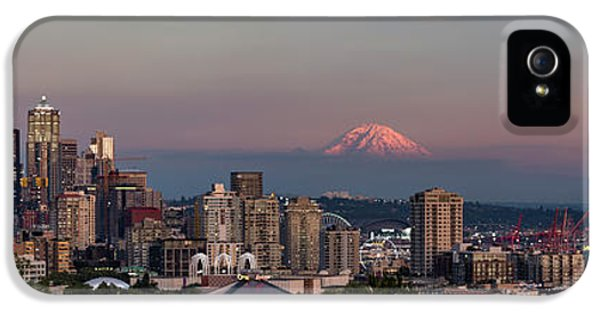 IPhone 5 Case featuring the photograph Seattle Skyline And Mt. Rainier Panoramic Hd by Adam Romanowicz