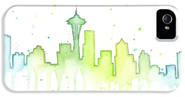 Hawk iPhone 5 Case - Seattle Skyline Watercolor  by Olga Shvartsur
