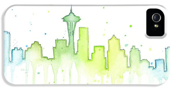 Seattle Skyline Watercolor  IPhone 5 Case by Olga Shvartsur