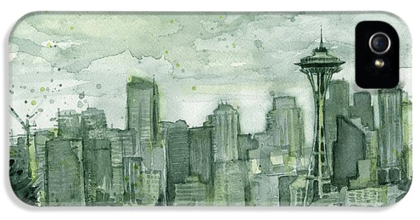 Seattle Skyline Watercolor Space Needle IPhone 5 Case