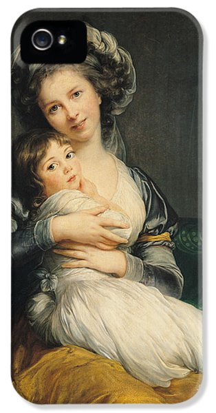 Self Portrait In A Turban With Her Child IPhone 5 Case by Elisabeth Louise Vigee Lebrun