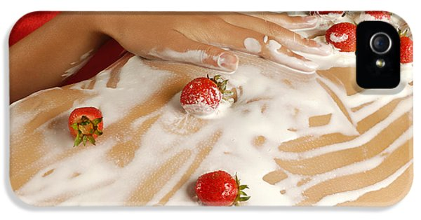 Glamorous iPhone 5 Cases - Sexy Nude Woman Body Covered with Cream and Strawberries iPhone 5 Case by Oleksiy Maksymenko